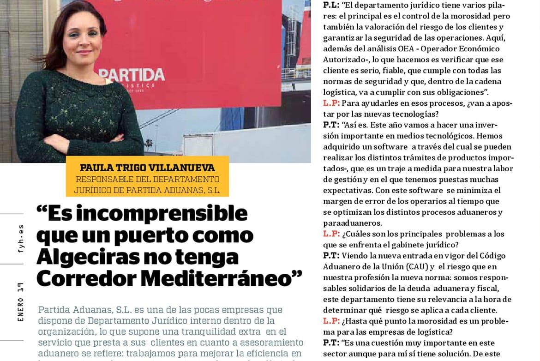 """Entrevista F&H: """"Es incomprensible que un puerto como Algeciras no tenga Corredor Mediterráneo"""""""